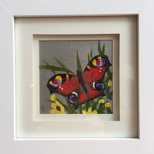 Mini Framed Original Acrylic painting - Butterfly series - Peacock