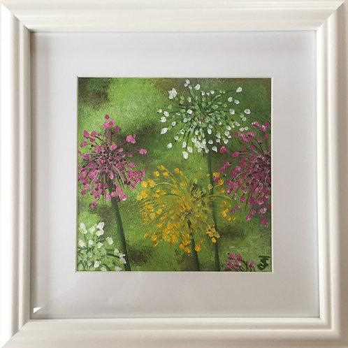 Midi Size Framed Original Acrylic painting - Aliums