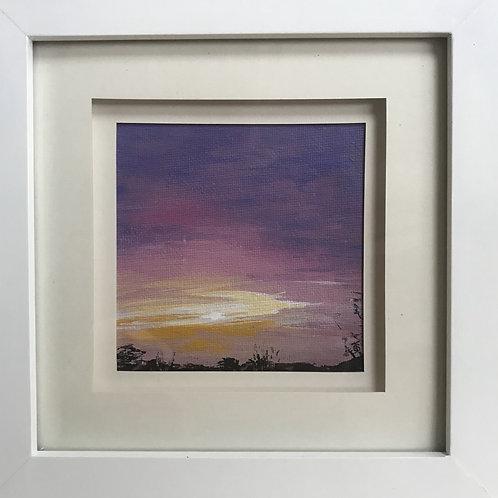 Mini Framed Original Acrylic painting - Purple Horizon