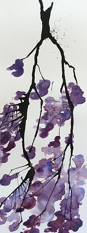 Escape2Art, watercolour and ink blossom