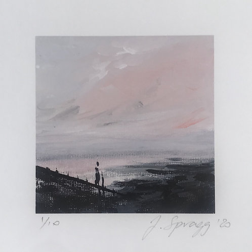 Painting, Sunset, beach, pastel pink and greys