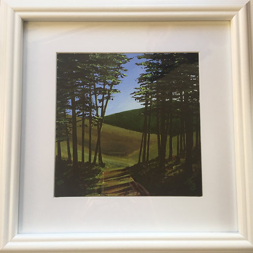 Midi Size Framed Original Acrylic painting - 'A Favourite Spot' Bourne Woods