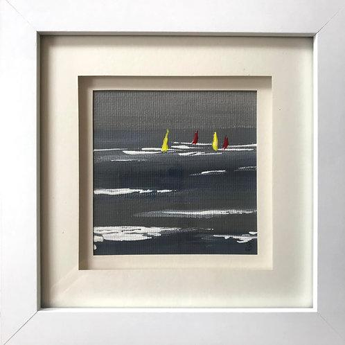 Mini Framed Original Acrylic painting - Windsurfers
