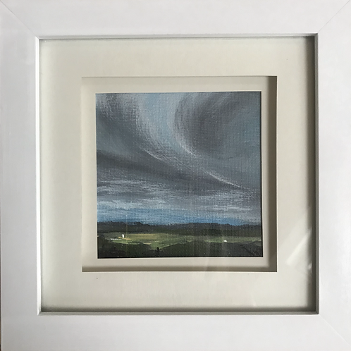 Mini Framed Original Acrylic painting - Windy day at the Ridge