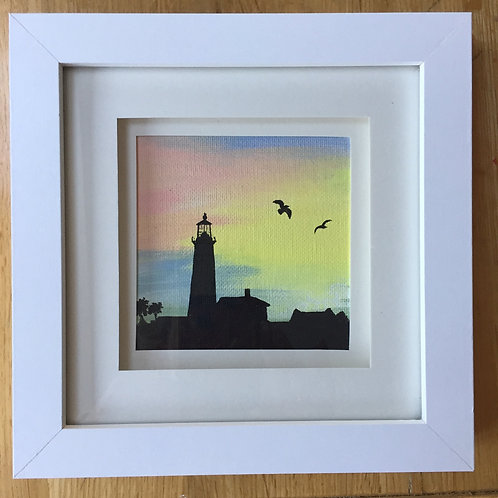 Small Framed Original Acrylic painting - Lighthouse Silhouette