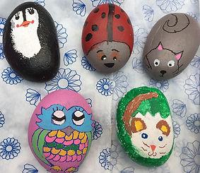Escape2Art Arty Party painted pebbles