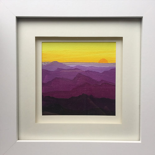 Small Framed Original Acrylic painting - Mountain Sunset Violet & Yellow