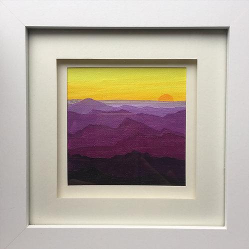 Mini Framed Original Acrylic painting - Mountain Sunset Violet & Yellow
