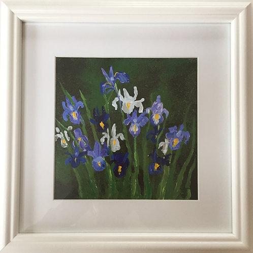 Midi Size Framed Original Acrylic painting - Irises