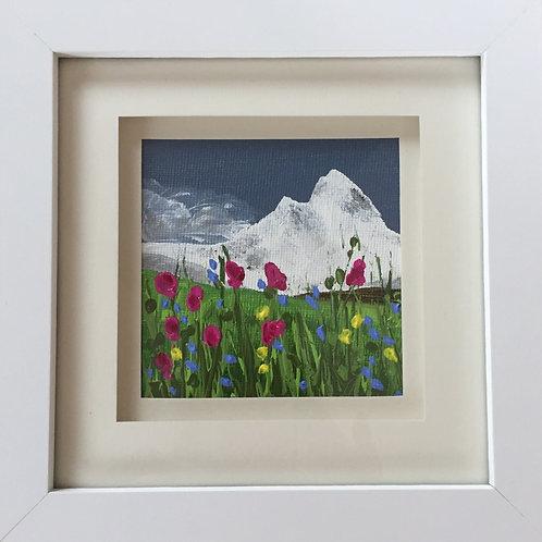 Mini Framed Original Acrylic painting - Mountain Meadow l