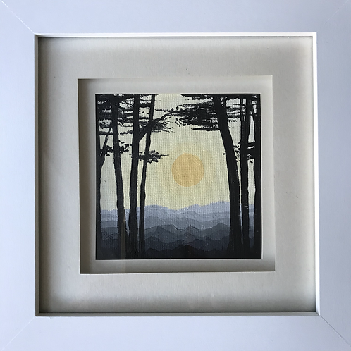 Small Framed Original Acrylic painting - Silhouetted Woods - Sunny tones