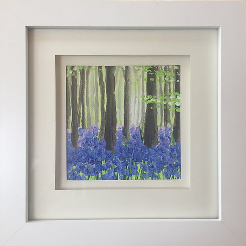 Mini Framed Original Acrylic painting - Bluebell Wood