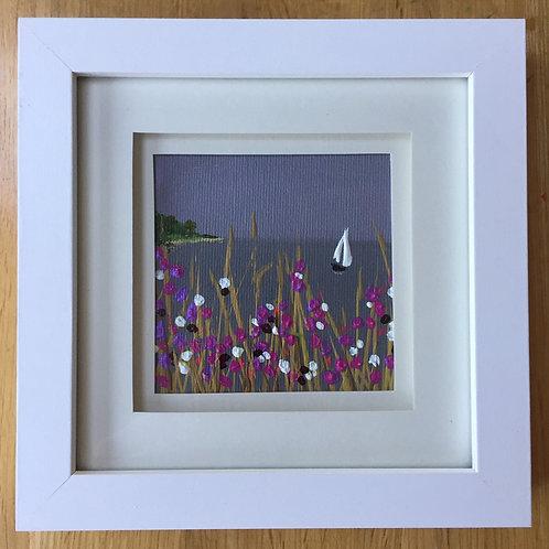 Small Framed Original Acrylic painting - Misty Mauves Sailing