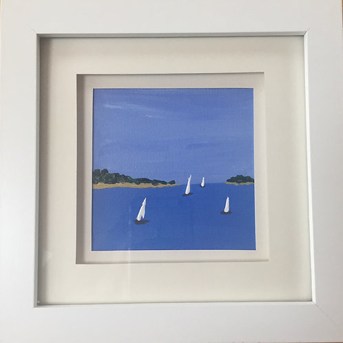 Mini Framed Original Acrylic painting - Boats on the Estuary l