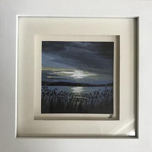 Mini Framed Original Acrylic painting - Dusk at Frensham Pond