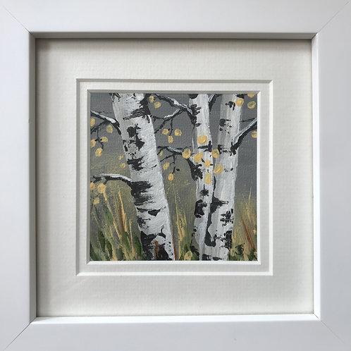 Mini Framed Original Acrylic painting - Silver Birches on Grey