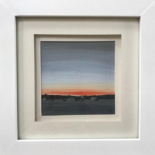 Mini Framed Original Acrylic painting - Evening glow