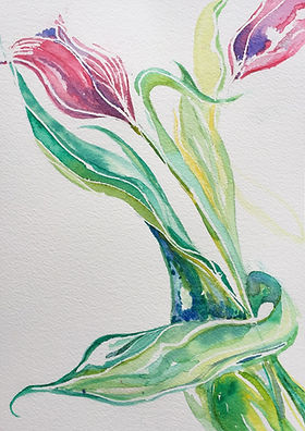 Escape2Art watercolour tulips and leaves