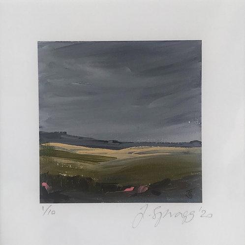 Painting, grey sky, stormy, light, fields, greens