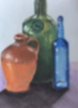Escape2Art pastel drawing of bottles and vases by Joanna Spragg