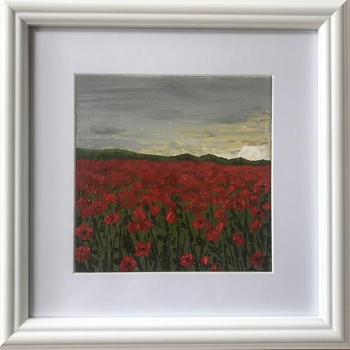 Midi Size Framed Original Acrylic painting - Sunrise over the Poppies