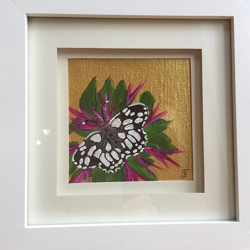 Mini Framed Original Acrylic painting - Butterfly series - Checkered Skipper