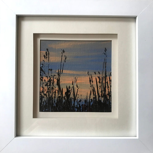 Mini Framed Original Acrylic painting - Sunset Silhouettes