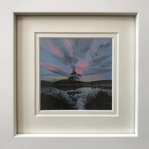 Mini Framed Original Acrylic painting - Reflections at Sunset