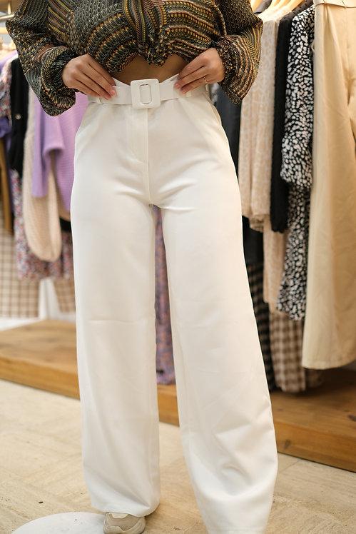 Pantalon ceinturé Blanc
