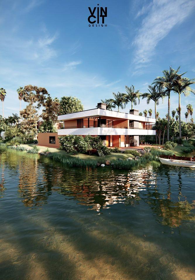 Render fotorrealista de una casa moderna de vincit design