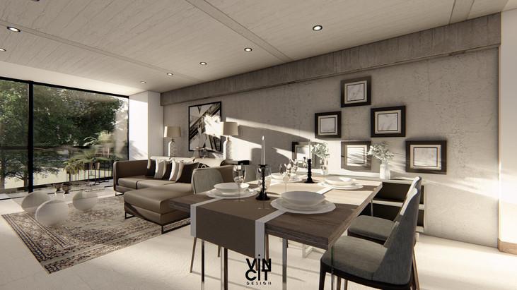 Render diseño de interiores Sala comedor