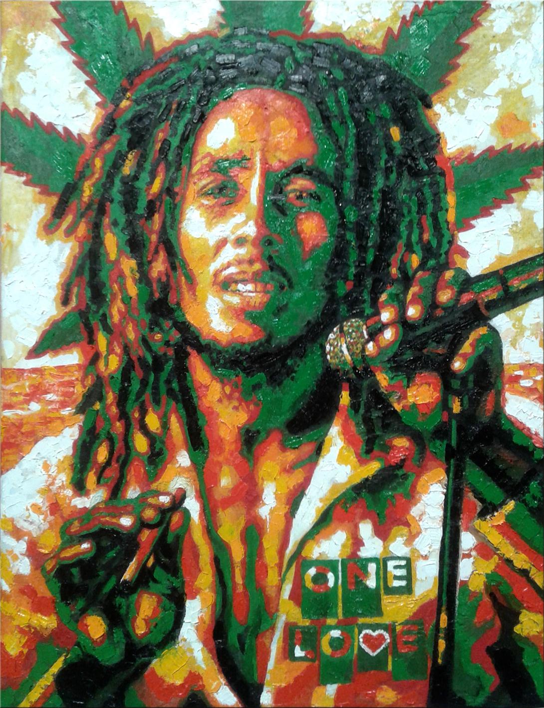 Портрет Боба Марли масло-холст