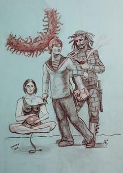 """Рисунок """"Кая, Грым и прокуратор"""""""