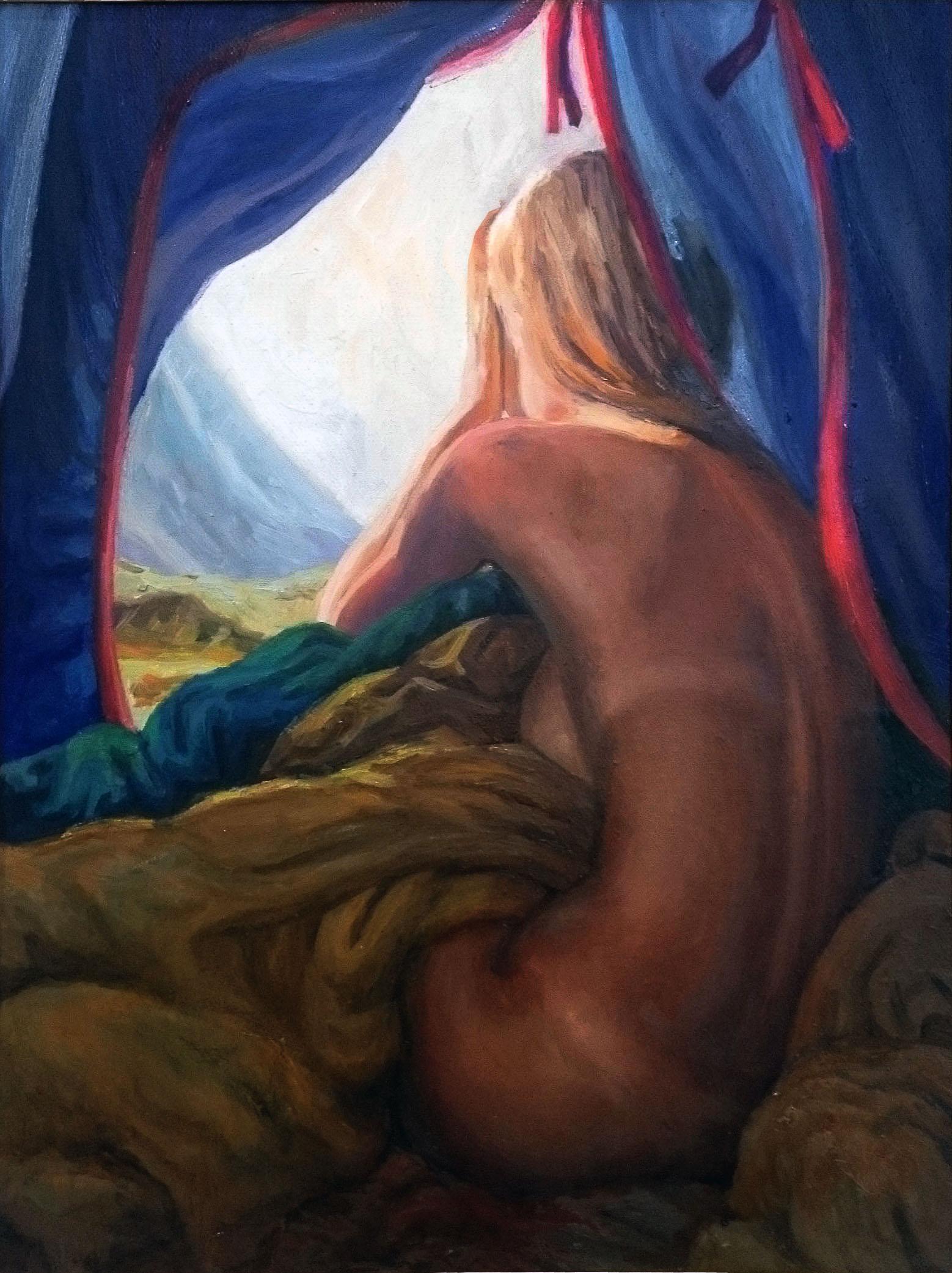 Картина маслом заказ Утро в палатке