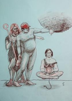 "Рисунок ""Бернар-Анри, Дамилола и Кая"