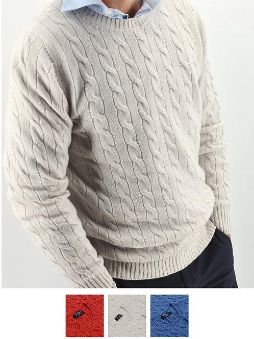 Cables Knit Crew Neck 100% Cashmere