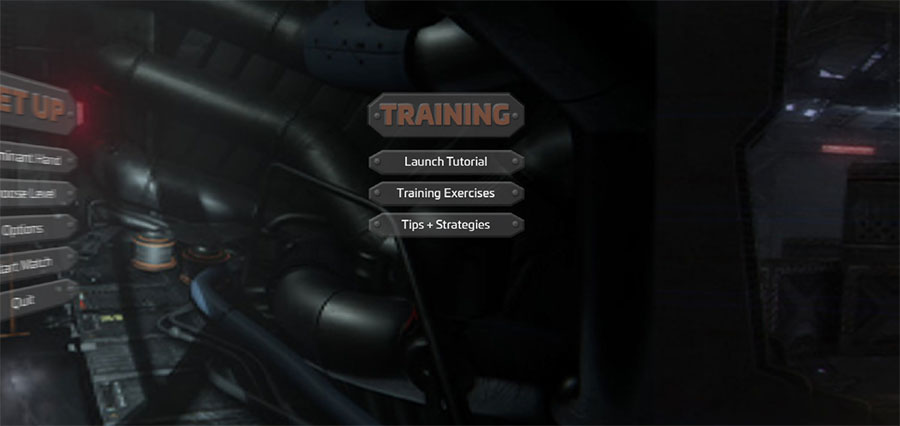 VR Game Menu - Training