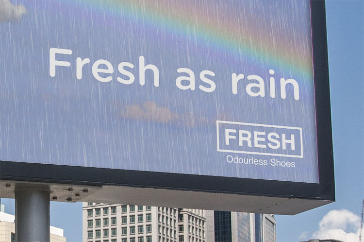 Fresh as Rain Shoe Billboard Closeup