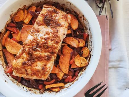 Salmón asiático con boniato y verduras