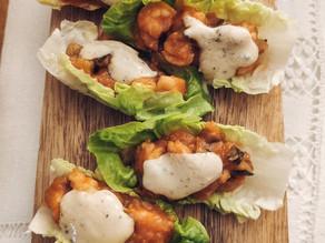 Tacos de gambón picante con salsa de kiwi