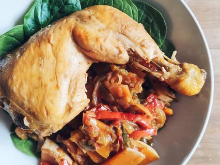 Pollo a la naranja con verduras