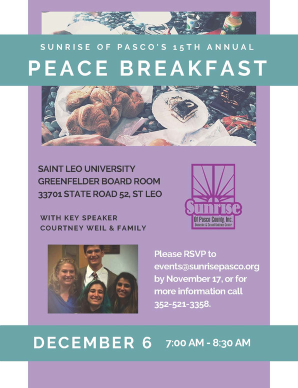 15th Annual Peace Breakfast Speaker Announced