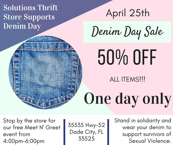 Denim Day Specials at Solutions Thrift Store