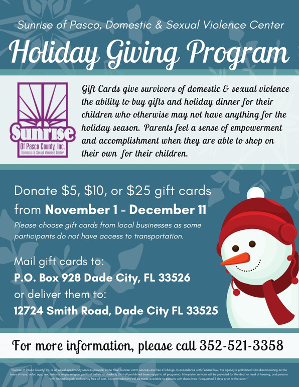 Holiday Giving Program at Sunrise