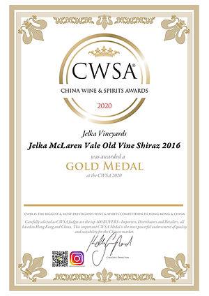 Certificate Jelka 2016 Old Vine Shiraz-1