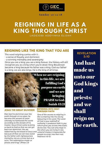 Reigning in life as a king through Christ