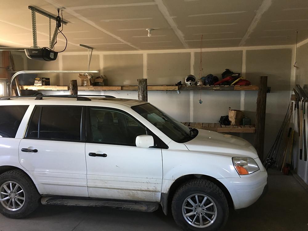 Pallet garage shelves