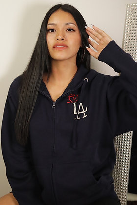 Navy LA ROSE Zipper Hoodies
