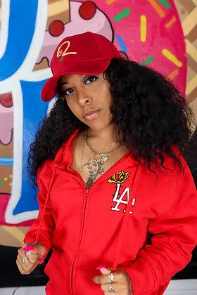 Red LA ROSE Zipper Hoodies