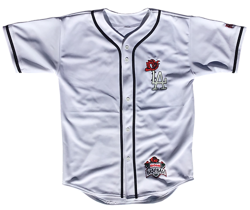 White LA Rose Glow Baseball Jerseys